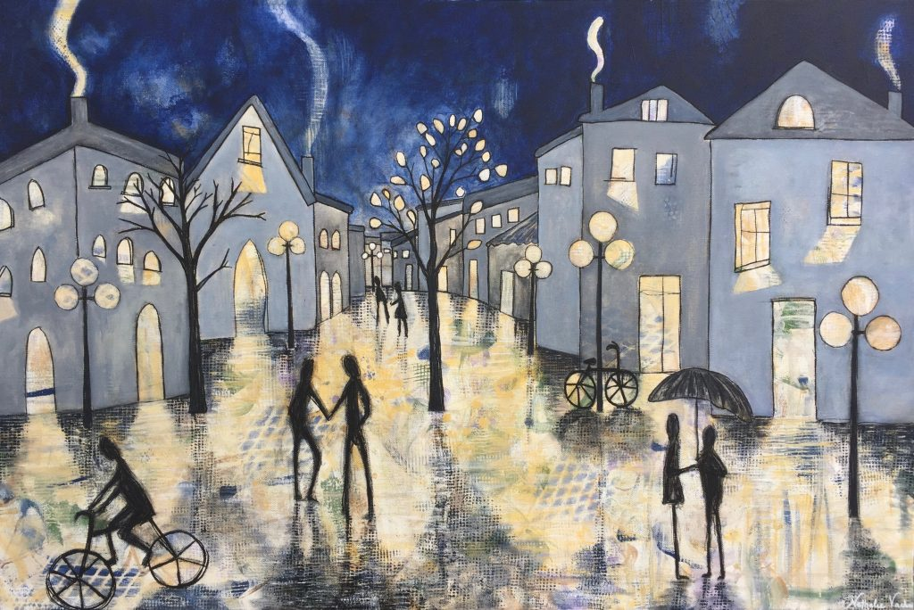 a rainy night b